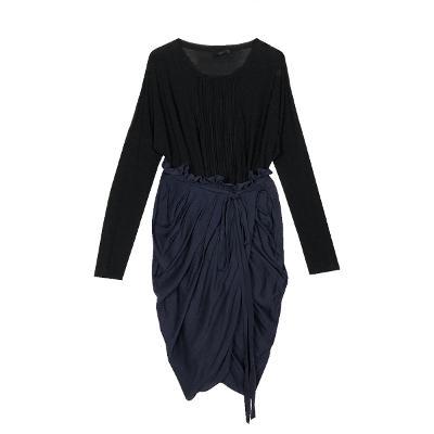 see through blouse & shirring skirt navy